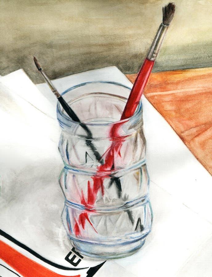 Spazzole in un vetro illustrazione vettoriale