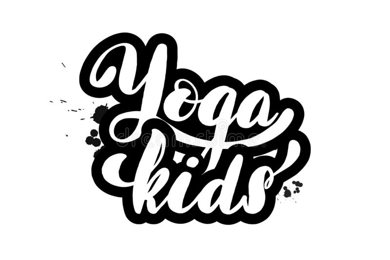 Spazzoli l'iscrizione dei bambini con lettere di yoga illustrazione di stock