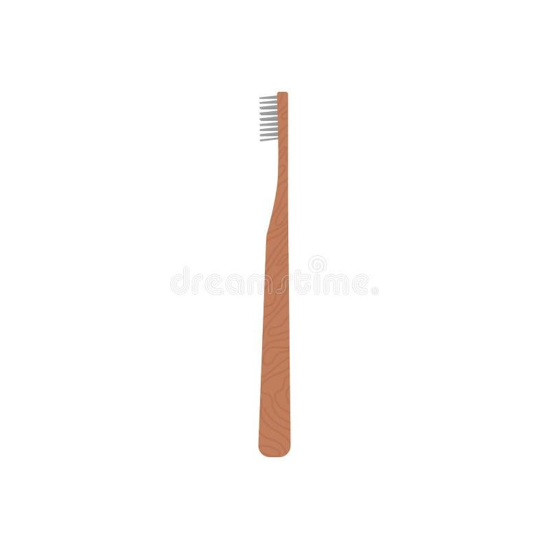 Spazzolino da denti di legno su fondo bianco isolato Spazzolino da denti di bambù amichevole di ecologia - spreco zero Illustrazi illustrazione vettoriale