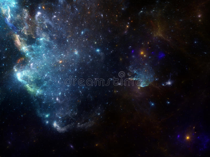 Space background with nebula and galaxies. Deep sky fractal image with nebula and galaxies background and texture for creating space scene royalty free illustration