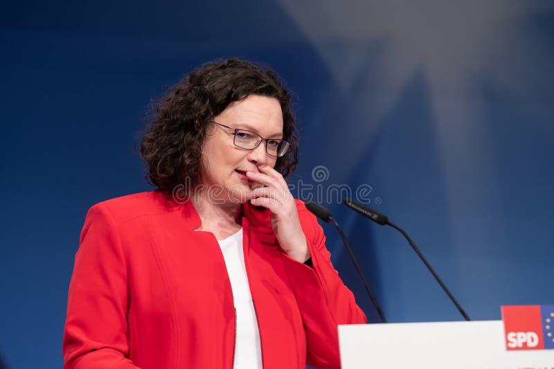 SPD党conventiion的安德里亚纳勒斯在前进 免版税库存照片