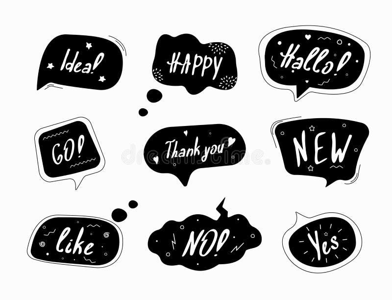 black and white speech bubbles vector illustration
