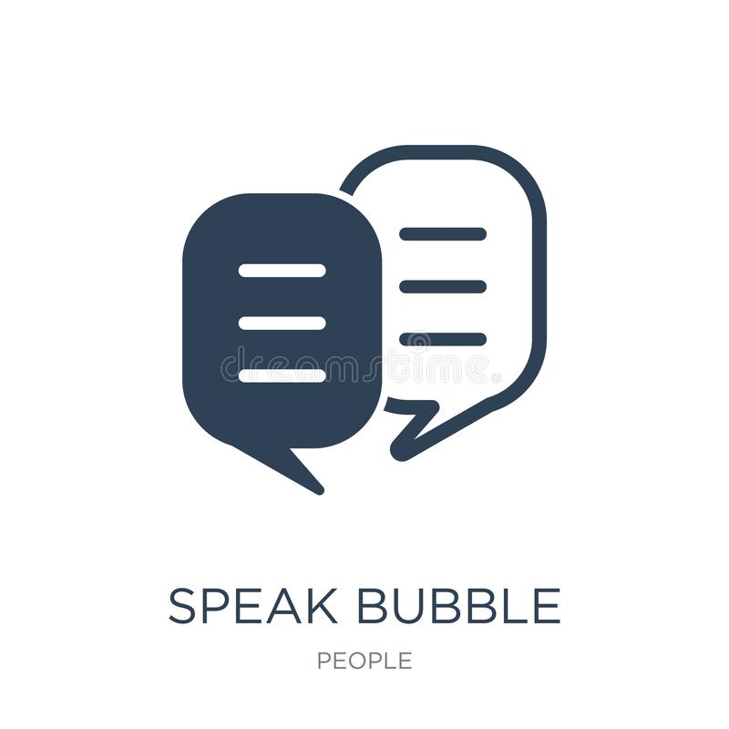 Speak bubble icon in trendy design style. speak bubble icon isolated on white background. speak bubble vector icon simple and. Modern flat symbol for web site stock illustration