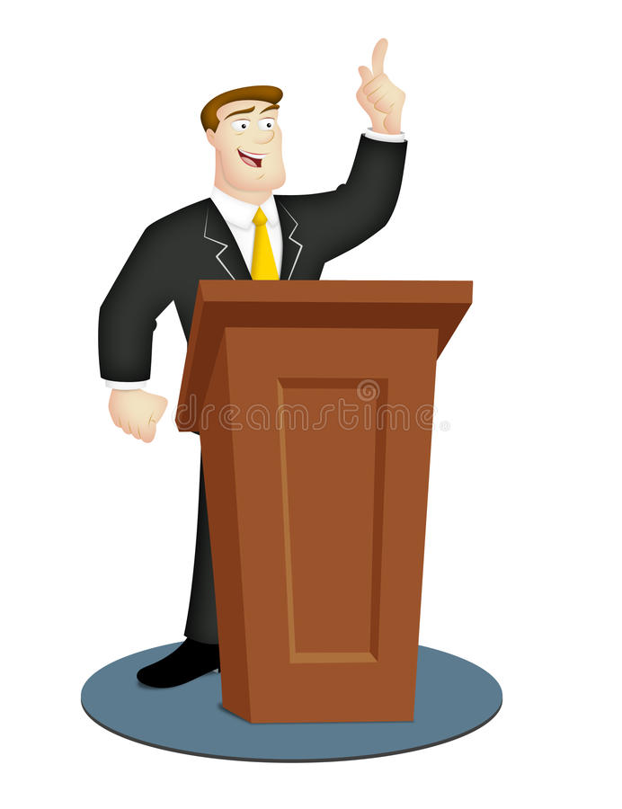 Speaker. Cartoon speaker in business suit with rostrum royalty free illustration