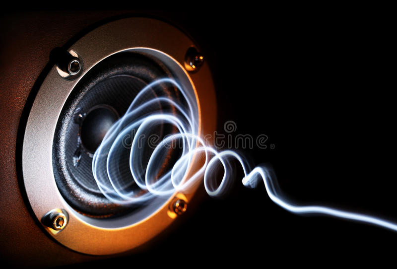 Speaker. With light waves showing sound stock photo