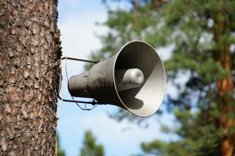Speaker. Announcement attention background bizarre bullhorn stock images