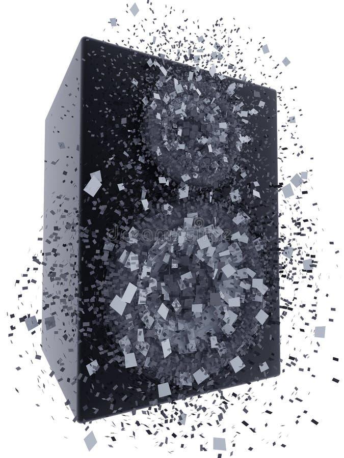 Speaker box exploding. 3d render over white background vector illustration