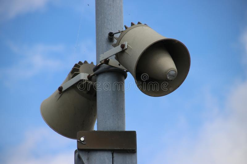 Speaker at the Bridge at the Prinses Margrietsluis sluice complex in the town of lemmer to connect Friesland with the IJsselmeer royalty free stock image