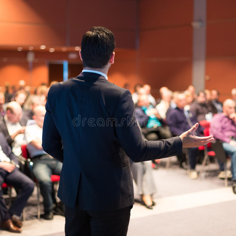 Speaker at Business Conference and Presentation. royalty free stock photography