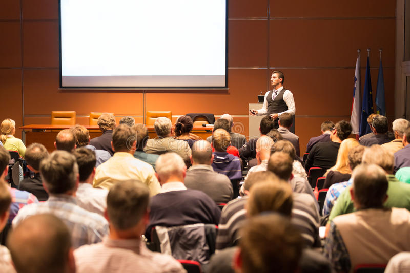 Speaker at Business Conference and Presentation. stock image