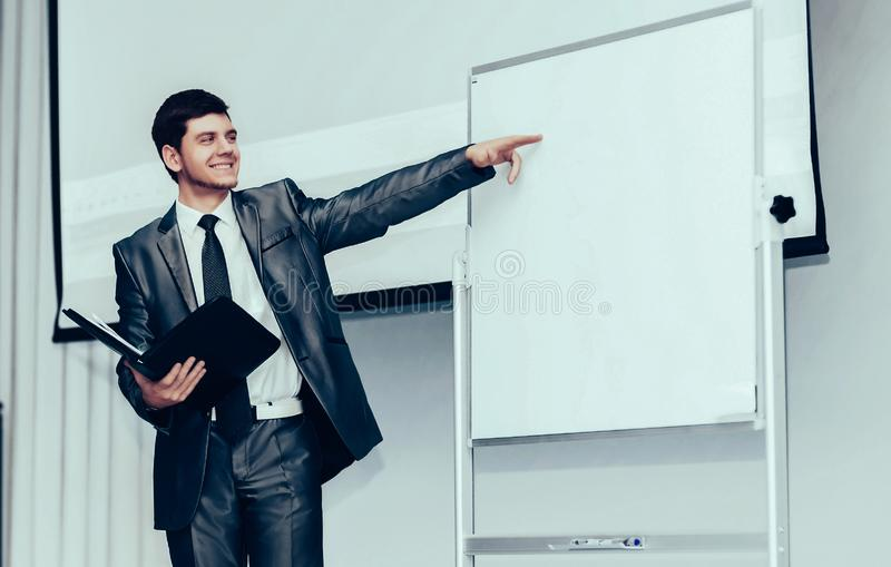 Speaker at Business Conference and Presentation. It shows up on the stand for your ad text stock photo