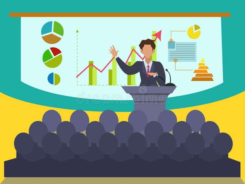 Speaker at business convention and presentation. Business supervisor Explaining about business performance With a graph showing growth To show with attendees vector illustration