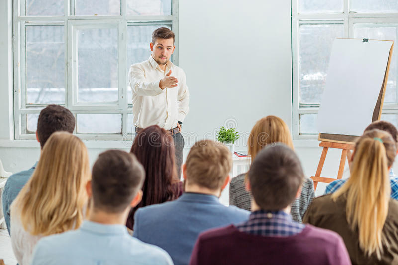 Speaker at Business Meeting in the conference hall. Business and Entrepreneurship concept royalty free stock images