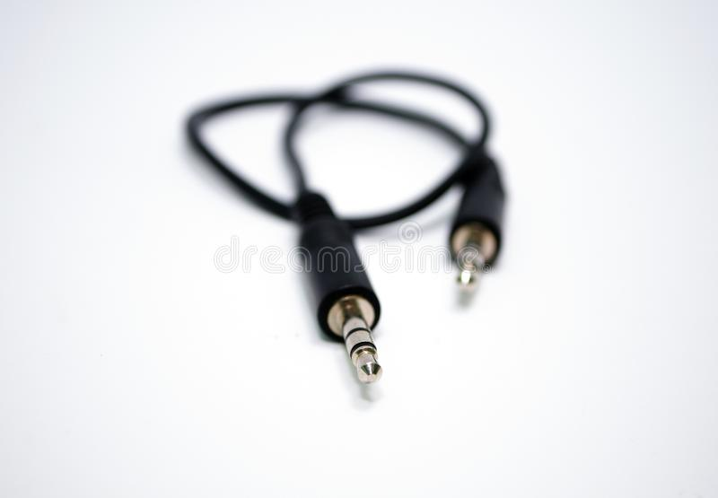 Speaker cable 3.5mm. On a white background stock photography
