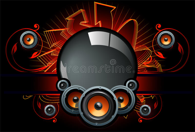 Speaker comp in dark background. Ideal for music fest, party dj, logos and may other designs. This file is available in format for unlimited extensions vector illustration