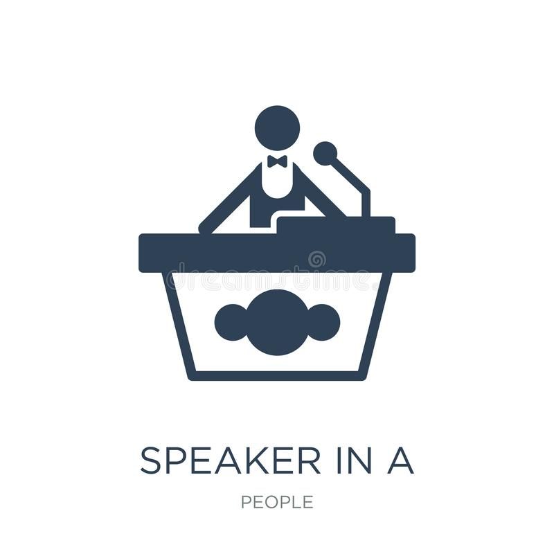 Speaker in a conference icon in trendy design style. speaker in a conference icon isolated on white background. speaker in a. Conference vector icon simple and vector illustration