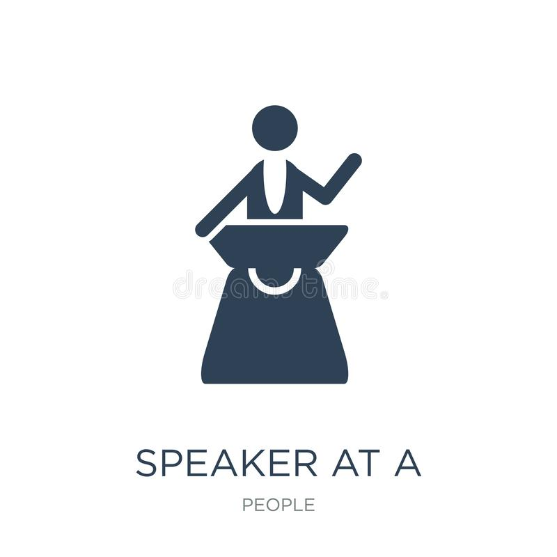 speaker at a conference icon in trendy design style. speaker at a conference icon isolated on white background. speaker at a vector illustration