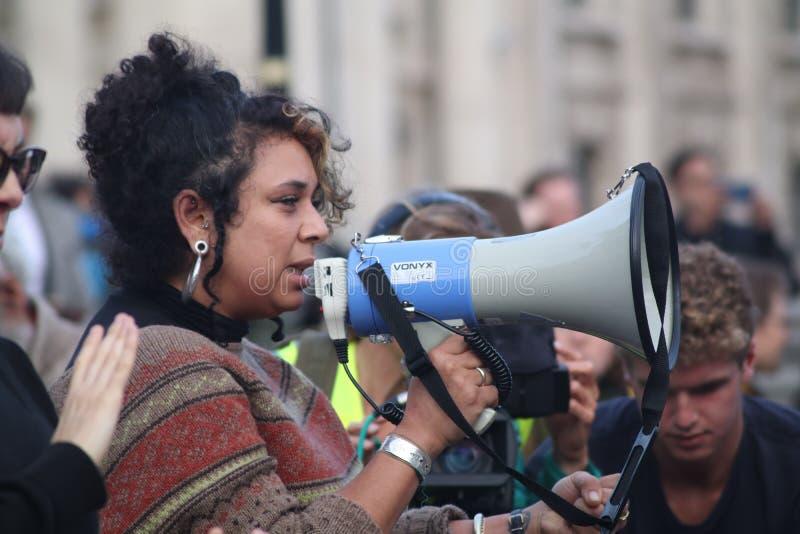 Speaker at Extinction Rebellion Protest. stock photos