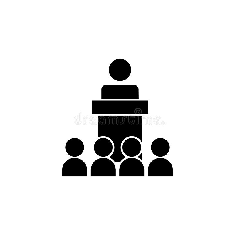 Speaker in front of the crowd icon. Simple glyph, flat  of People icons for UI and UX, website or mobile application. On white background royalty free illustration