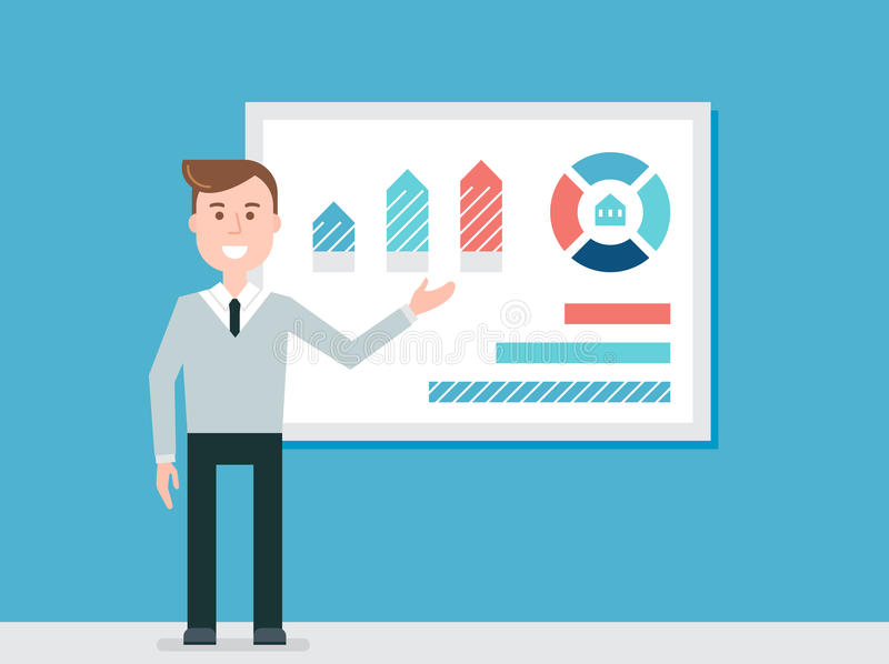 Speaker Giving Presentation Using Diagram Charts vector illustration