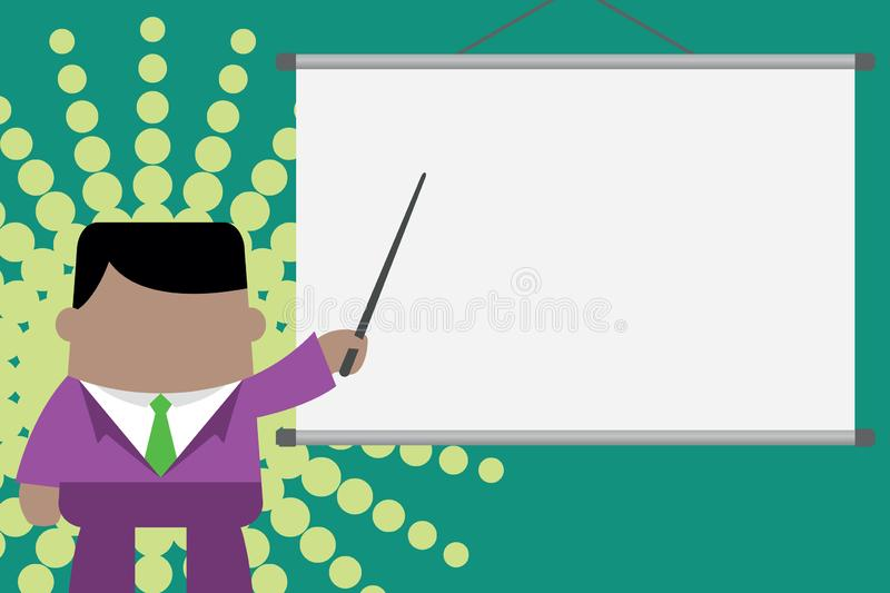 Speaker giving professional training. Executive man standing in front projector screen. Businessman pointing project stock illustration