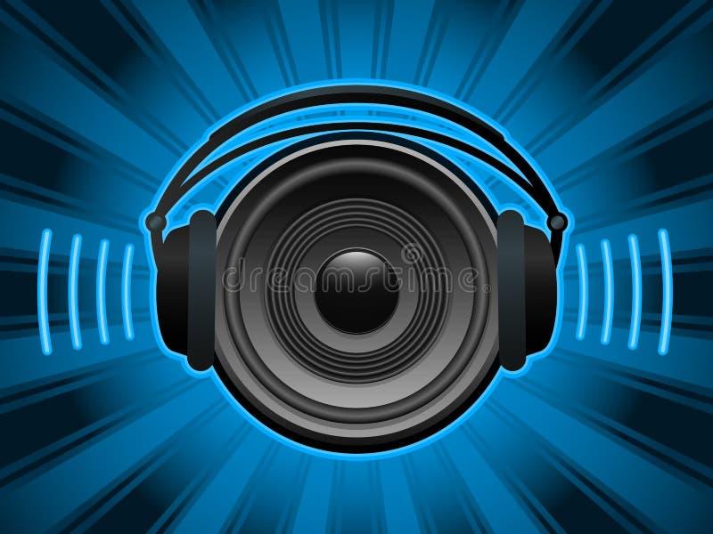 Speaker with headphones stock illustration