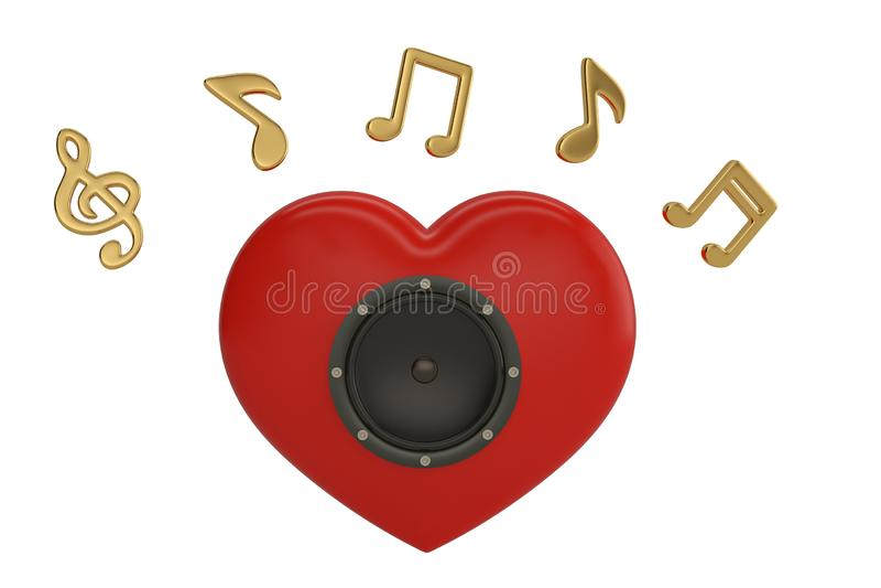 Speaker on heart and music notes.3D illustration. royalty free illustration