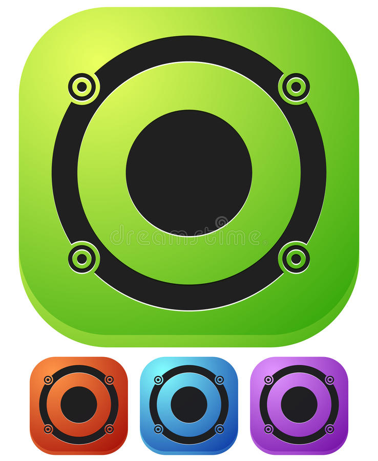 Speaker icon for audio, music related themes. Royalty free vector illustration stock illustration