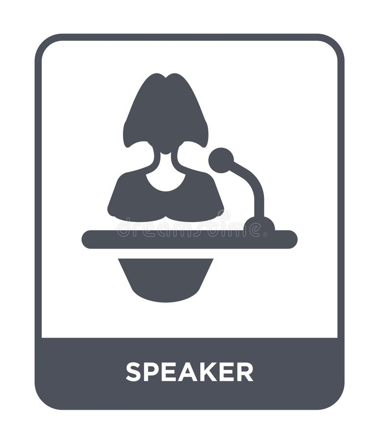 Speaker icon in trendy design style. speaker icon isolated on white background. speaker vector icon simple and modern flat symbol. For web site, mobile, logo stock illustration