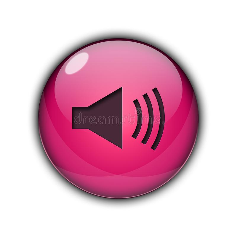 Speaker icons and buttons 3D pink Color. Speaker icons and buttons Symbol sing 3d Multicolor; goldenm sky blue, dark blue, yellow, purple, red, orange, pink royalty free illustration
