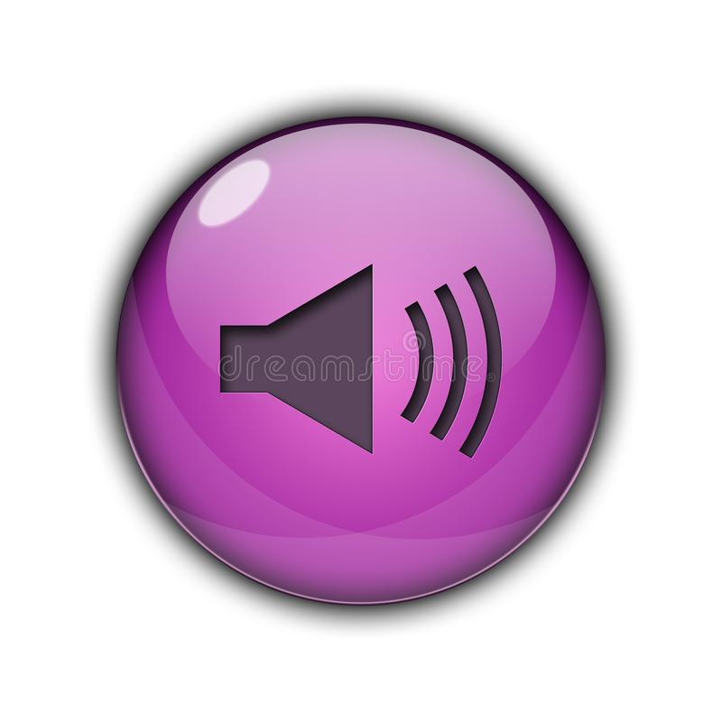 Speaker icons and buttons 3D Purple Color. Speaker icons and buttons Symbol sing 3d Multicolor; goldenm sky blue, dark blue, yellow, purple, red, orange, pink royalty free illustration