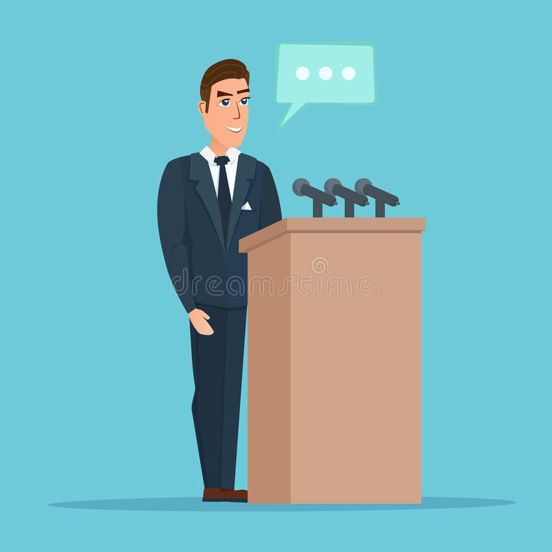 Speaker makes a report to the public. Orator stands behind stock illustration