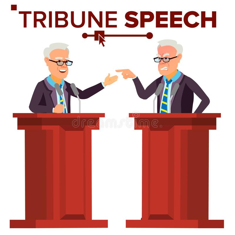 Speaker Man Vector. Businessman, Politician Giving Speech. Rostrum. Candidate. Isolated Flat Cartoon Character royalty free illustration