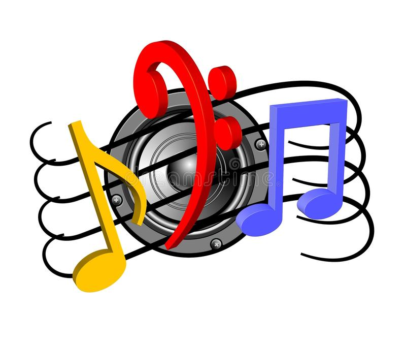 Speaker and music notes stock illustration