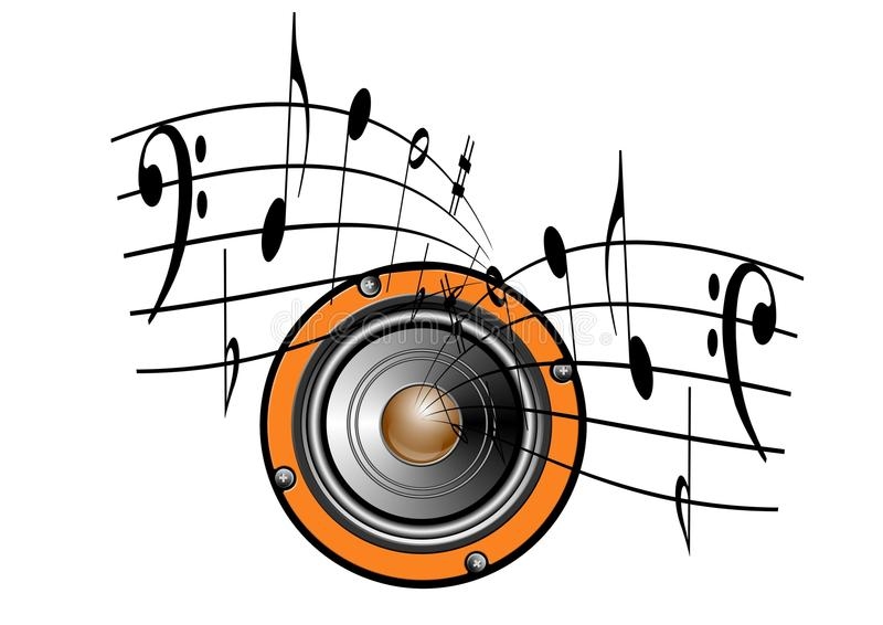 Speaker and music notes royalty free illustration