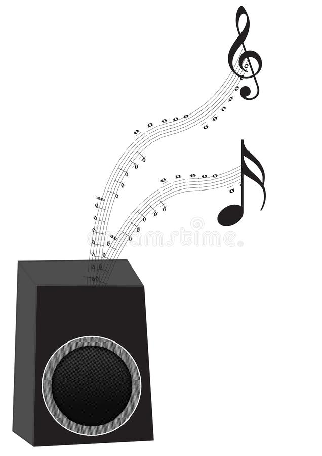 Speaker with music notes stock photo