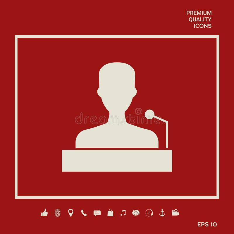 Speaker, orator speaking from tribune icon. Graphic elements for your design royalty free illustration