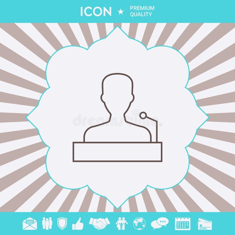 Speaker, orator speaking from tribune - line icon. Graphic elements for your design stock illustration