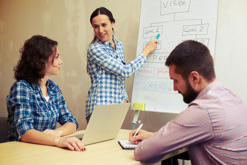 Speaker pointing at flowchart. And looking at colleagues in office stock photos