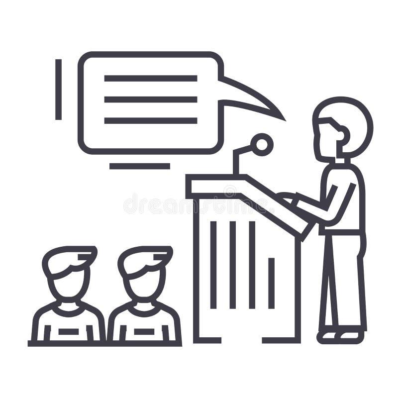 Speaker,presentation,podium tribune stand vector line icon, sign, illustration on background, editable strokes vector illustration