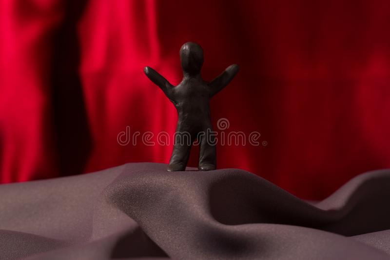 Speaker standing in front of. Many people royalty free stock photo