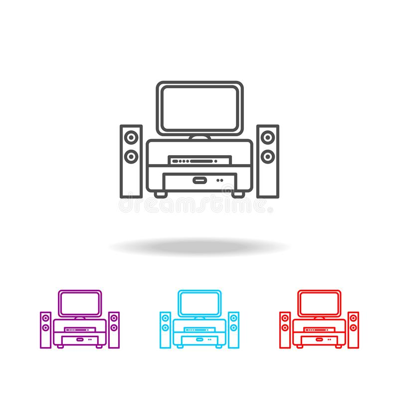 Speaker system and TV icon. Elements of furniture in multi colored icons. Premium quality graphic design icon. Simple icon for web vector illustration