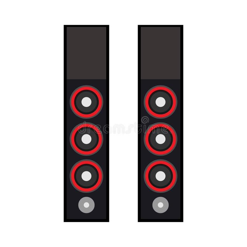 Speaker technology equipment design media volume electronic. Black system studio party sound device vector acoustic stock illustration
