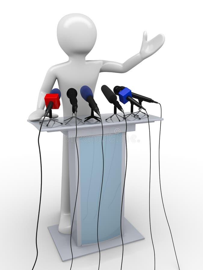 Speaker on a tribune. Mass media series; men at work series royalty free illustration