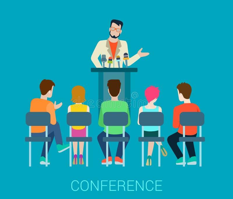 Speaker on tribune and people listening - conference vector flat stock illustration