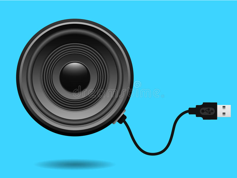 Speaker with USB cable. On blue royalty free illustration