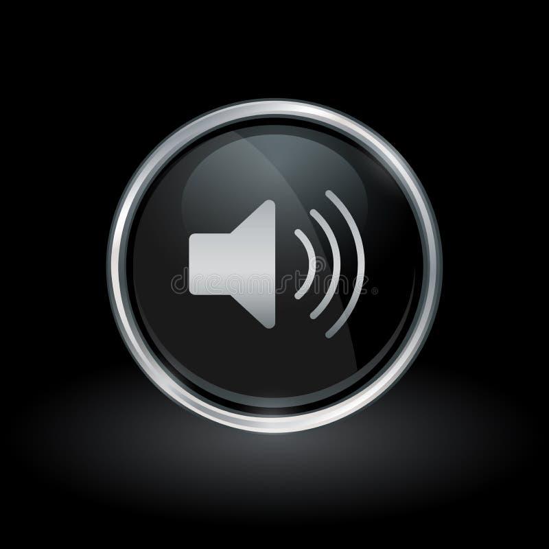 Speaker volume icon inside round silver and black emblem stock illustration