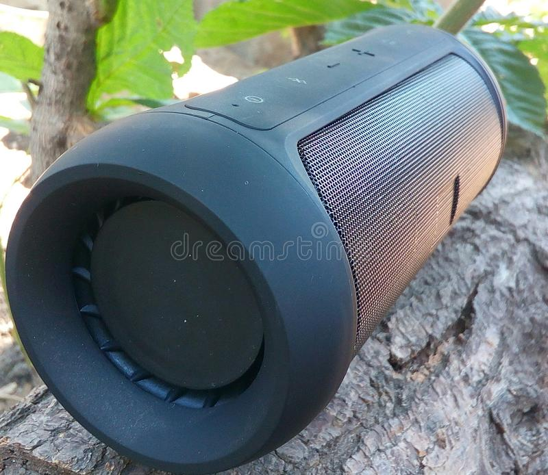 Speaker, wireless, isolated, bluetooth, portable, background, black, music, mini, outdoor, speakers, design, modern, technology, s stock image