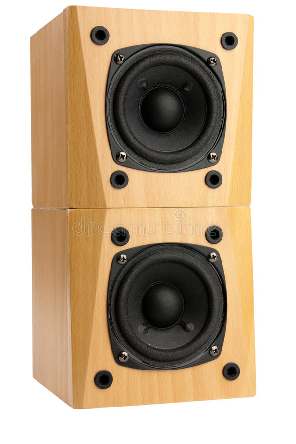 Speakers. Small speakers in wooden box isolated on white stock photography