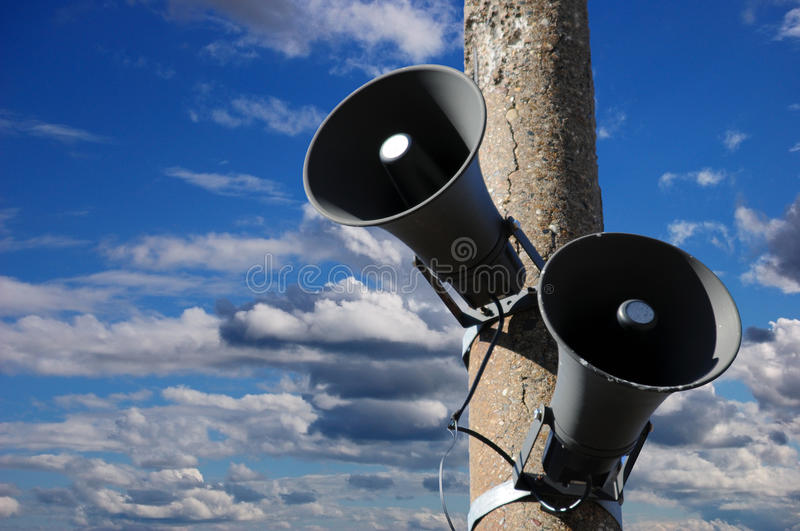 Speakers. Of a public address system royalty free stock image